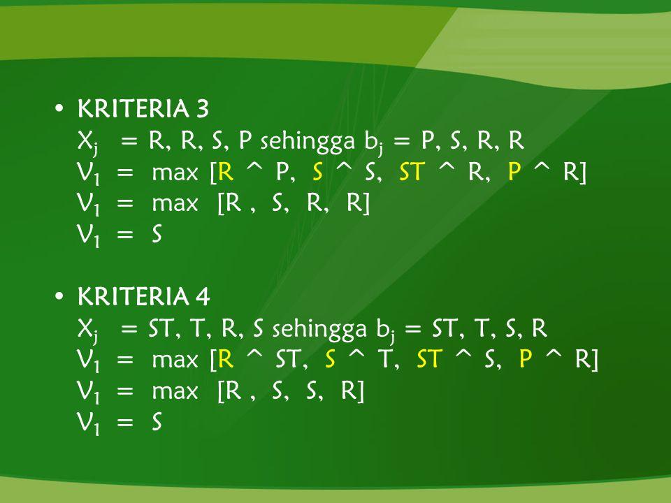 KRITERIA 3 Xj = R, R, S, P sehingga bj = P, S, R, R. V1 = max [R ^ P, S ^ S, ST ^ R, P ^ R]